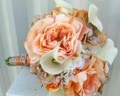 Peaches & Cream Wedding bouquet Real touch calla lily Silk bridal bouquet