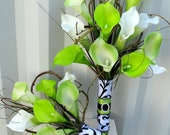 Wedding Bouquet Bridesmaid bouquet 4 piece set - Lime green & white real touch calla lilies