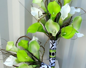 Wedding Bouquet Bridesmaid bouquet 4 piece set - Lime green and white real touch calla lilies