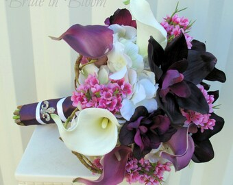 Wedding bouquet - Bridal bouquet - Plum purple calla lily orchid silk wedding flowers