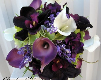 Wedding Bouquet - Brides bouquet - Plum real touch calla lily orchid Bridal bouquet - Bridesmaid bouquet