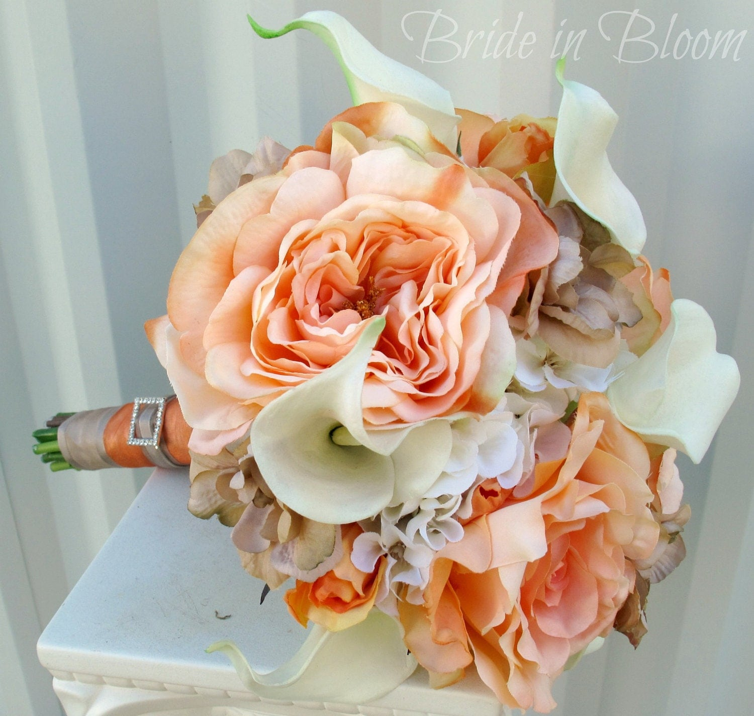 Peach & Cream Wedding Bouquet Real Touch By