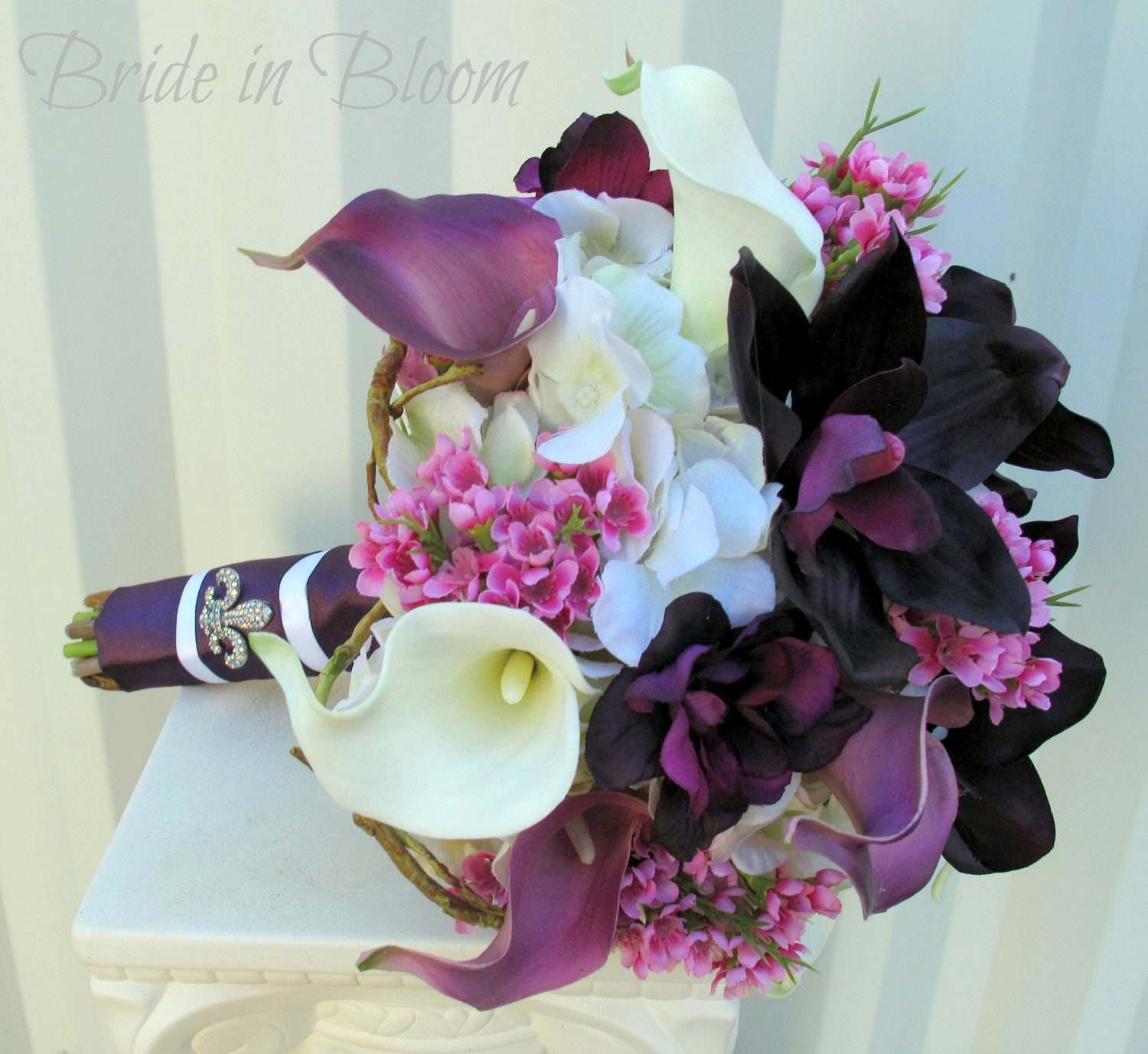 Wedding bouquet bridal bouquet plum purple calla lily zoom dhlflorist Image collections