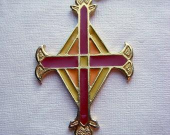 Signed ART Enamel Cross Necklace