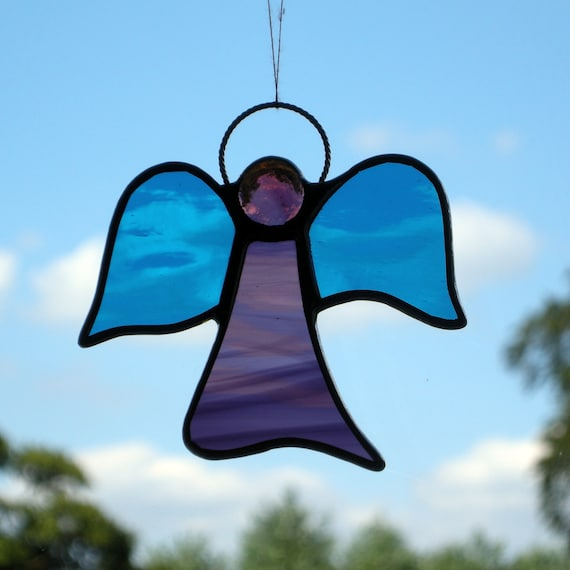 Stained Glass ornament (Angel) abstract, purples & aqua blue