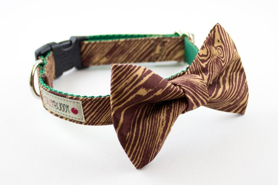 Wood Grain Bow Tie Dog Collar