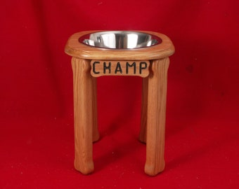 Elevated Large Dog Feeder, Single Bowl, 18 Inchs High, Solid Oak, Five Quart
