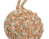 Crochet Face Scrubby Loofah Cotton in Aqua, Brown, Coral Red