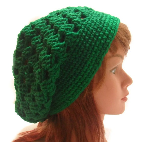 Crochet Granny Square Tam Slouchy Hat in Paddy Green Small