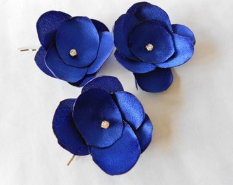 Fabric flower bobby pins  royal blue flower hair accessories