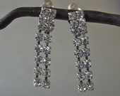 Vintage Rhinestone Earrings Czech Double Strand Dangle Clear Mad Men Wedding Prom Clip On Earrings
