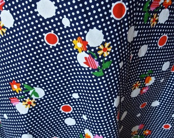 Vintage Skirt Polka Dot and Floral Navy Happy Colors 60's A-line Czech skirt