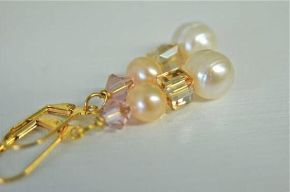 Pearl Earrings White Earrings Peach Earrings Pink Earrings Ready to Ship
