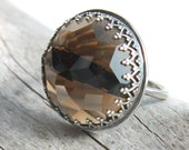 Smokey Quartz Ring  Large Smoky Quartz Ring Sterling Silver  Statement Ring  -  Sighs