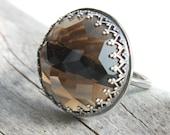 Smokey Quartz Ring  Large Smoky Quartz Ring Sterling Silver  Statement Ring  -  Sighs
