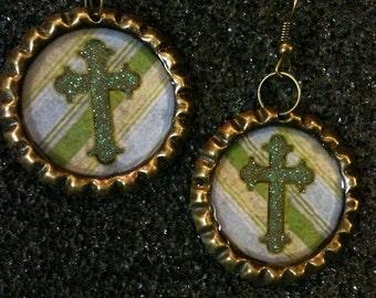Antique Brass Bottle Cap Earrings with Cross