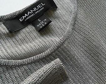 50% Off VIntage Designer Blouse Emanuel Ungaro Small Metallic Silver Chain Mail