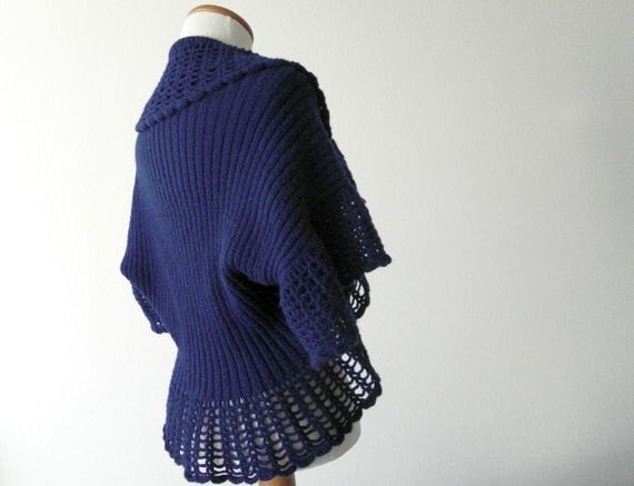 Vintage Shrug Shawl Sweat Blue 1970 70s Spider Web Pattern Ooak Hand Crocheted Etsy Sale