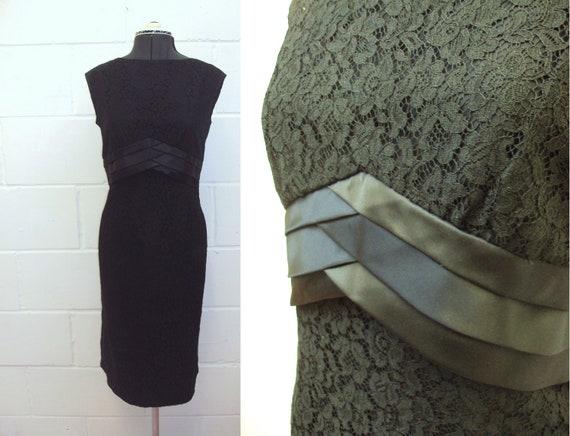 Early 1960s black lace & satin wiggle dress - M - HALLOWEEN SALE