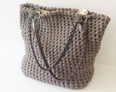 Tote crochet bag, taupe tote bag, large bag, for women SALES