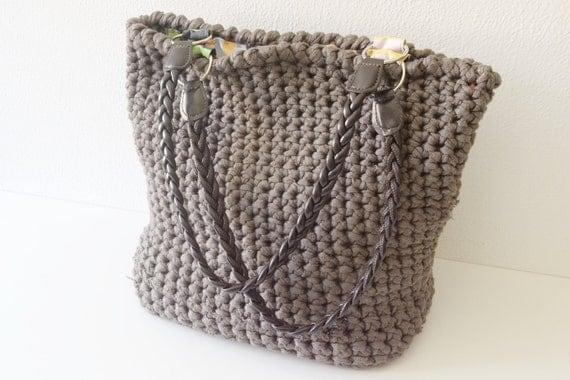 Tote crochet bag, taupe tote bag, large bag, for women SALES