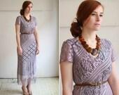 vintage 70s lavender crochet fringe dress