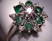 Antique Emerald Diamond Ring Retro Deco Wedding Vintage