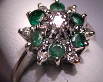 Antique Emerald Diamond Ring Retro Deco Wedding Vintage