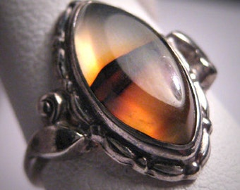 Antique Victorian Tortoise Agate Ring Vintage Silver