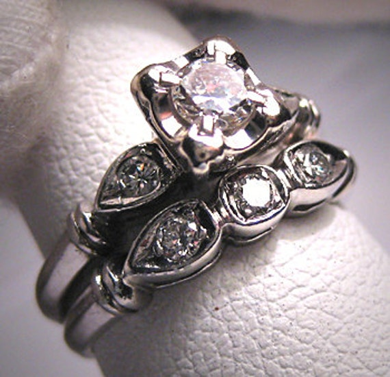 Antique Platinum Wedding Ring Set Vintage Art Deco Band