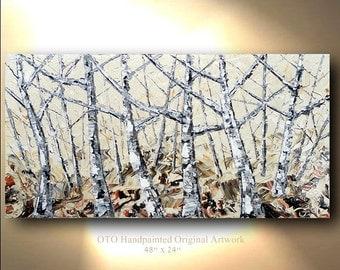ORIGINAL Abstract Painting Art Canvas Handpainted oil Wall Decor Artwork Impasto Textured 48x24 Modern art by OTO