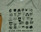 I Like CATS and DOGS Grey Onesie