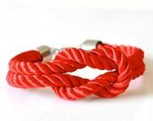 Square Knot Silk Rope Bracelet For Men - Red