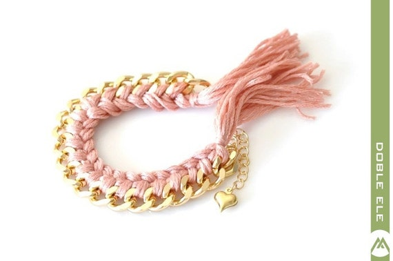 Woven Chain Bracelet - Large - Gray Pink