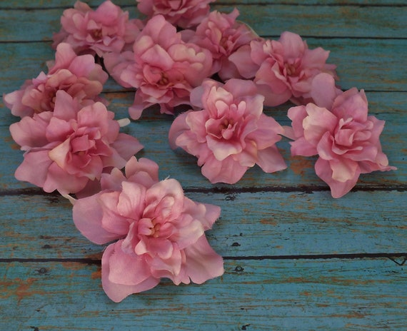Silk Flowers - 10 PINK Delphinium Blossoms - ALMOST 2.75 Inches - Artificial Flowers