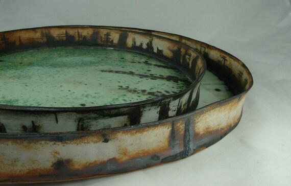 "Handbuilt Stoneware Platter  with oxides, pencil decoration and light green matte glaze -  12"""