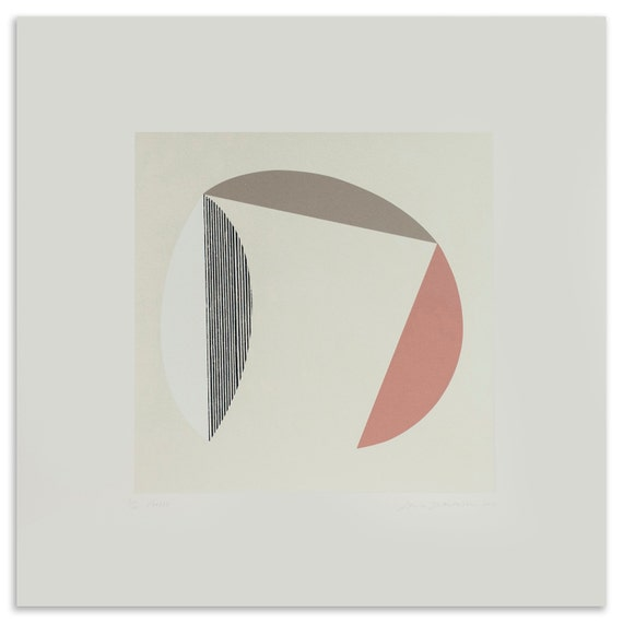 Forest, large abstract original print, square simple screenprint in block colours. Hard edged abstract original art. Minimal wall decor