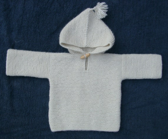Baby's hooded top/jumper in cream Eco 100% undyed virgin wool, age3-6 months