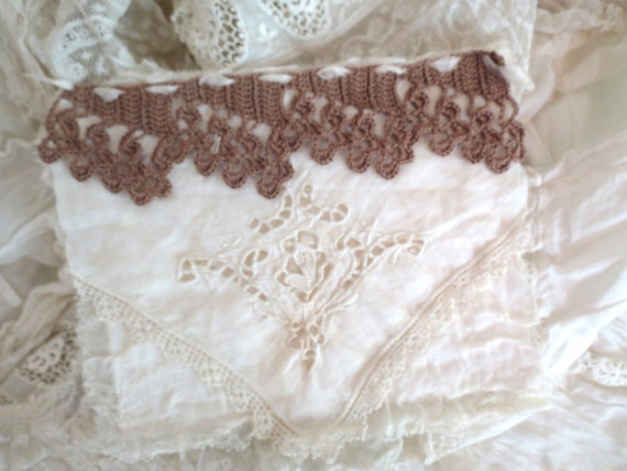 Beautiful card made from an antique hanky and crochet