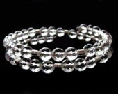 Dazzling, Sparkling A Grade Faceted Clear Quartz Stone Bead Bracelet With Silver
