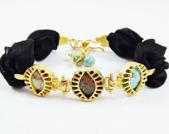 Exotic Trio Eye Turkish Silk Bracelet - Semi Precious Natural Stones - Unakite and Turquoise - Black - Summer Fashion
