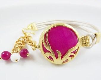 Hot Neon Pink & Metallic Pearl / Cream Turkish Leather Bracelet - Exotic Organic Bohemian - Gold Plated, Jade,  - Spring fashion