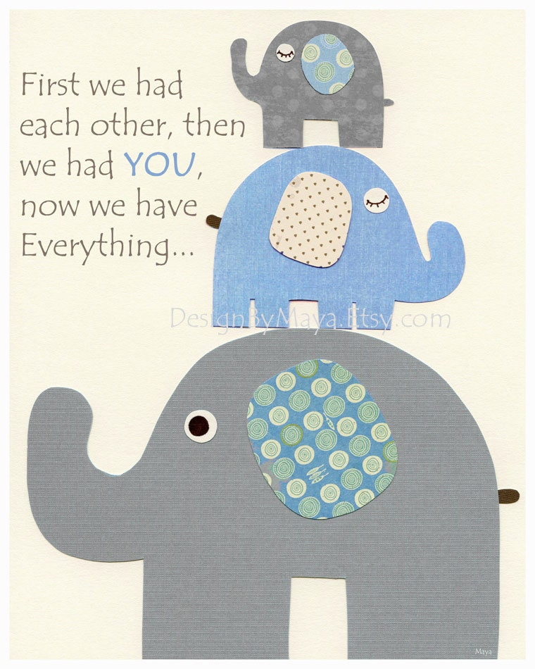 Baby boy nursery decor nursery print baby elephant first we for Baby boy decoration
