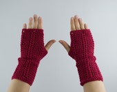 50% off - gloves crochet fingerless mittens in cherry red for her - wrist warmers, arm warmers - merino wool