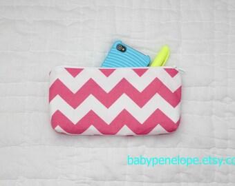 Pencil Case/Cosmetic Bag/ Gadget Case -Chevron - Pink