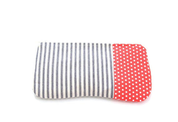 blue and cream ticking zipper pouch with polka dots / summer  fall fashion / nautical / stocking stuffer / cosmetic bag
