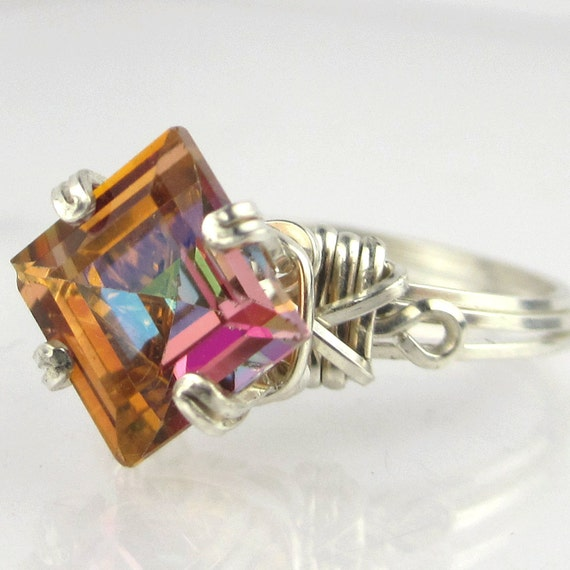 princess cut twilight mystic topaz ring by passionatejewelry
