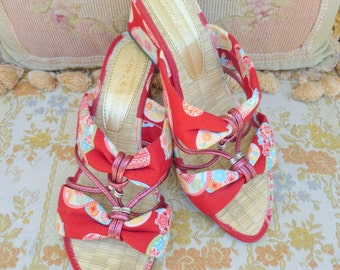 Red Japanese print cloth open toe wedge sandals