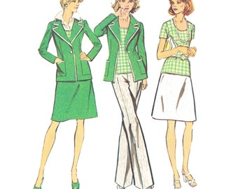 1970s Blazer Vintage Pattern / UNCUT and FF Simplicity 6235 / Misses Unlined Jacket, Top, Skirt and Pants Sewing Pattern/ Size 10