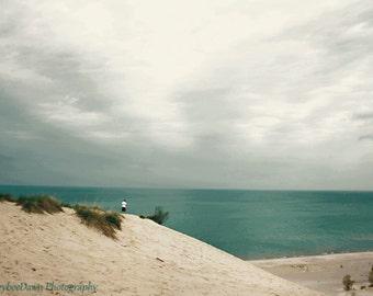 Lake Michigan Beach Indiana Dunes Landscape 8x12 Fine Art Photography Print Teal Gray Beige